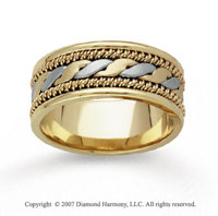 14k Two Tone Gold Stylized Hand Carved Wedding Band