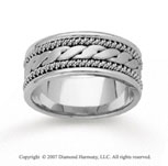14k White Gold Great Stylized Hand Carved Wedding Band