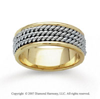 14k Two Tone Gold Triple Rope Hand Carved Wedding Band