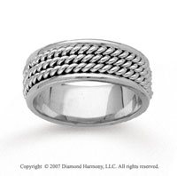 14k White Gold Triple Rope Hand Carved Wedding Band