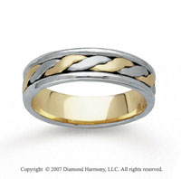 14k Two Tone Gold Fine Stylized Hand Carved Wedding Band