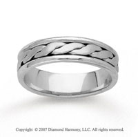 14k White Gold Fine Stylized Hand Carved Wedding Band