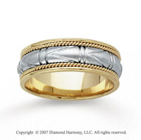 14k Two Tone Gold Special Elegant Hand Carved Wedding Band