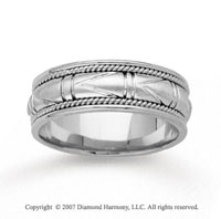 14k White Gold Special Elegant Hand Carved Wedding Band