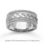14k White Gold Great Weave Hand Carved Wedding Band