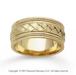 14k Yellow Gold Great Weave Hand Carved Wedding Band