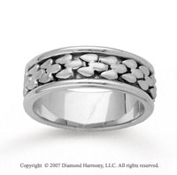 14k White Gold Fine Classy Hand Carved Wedding Band