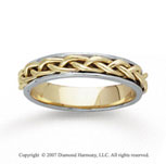 14k Two Tone Gold Elegant Tangle Hand Carved Wedding Band
