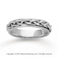 14k White Gold Elegant Tangle Hand Carved Wedding Band