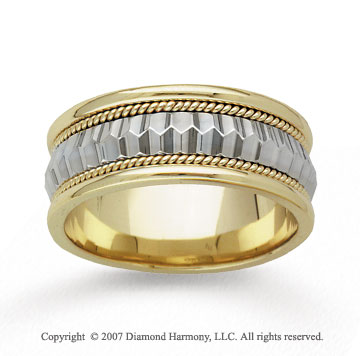 14k Two Tone Gold Elegance Milgrain Hand Carved Wedding Band