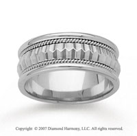 14k White Gold Elegance Hand Carved Wedding Band