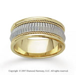 14k Two Tone Gold Diamond Facet Hand Carved Wedding Band