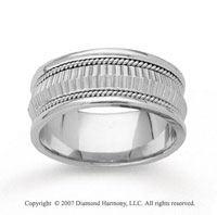 14k White Gold Diamond Facet Hand Carved Wedding Band