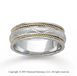 14k Two Tone Gold Diamond Pattern Hand Carved Wedding Band