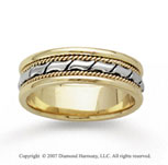 14k Two Tone Gold Elegant Milgrain Hand Carved Wedding Band