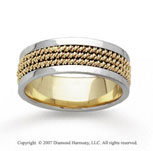 14k Two Tone Gold Pure Elegance Hand Carved Wedding Band