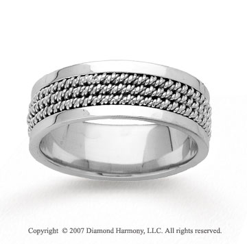 14k White Gold Pure Elegance Hand Carved Wedding Band