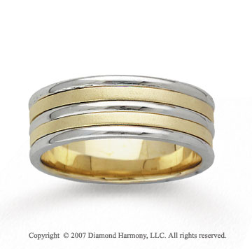 14k Two Tone Gold Fine Strips Hand Carved Wedding Band