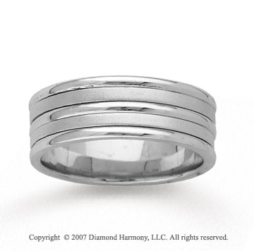 14k White Gold Fine Strips Hand Carved Wedding Band
