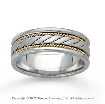 14k Two Tone Gold Rope Style Hand Carved Wedding Band