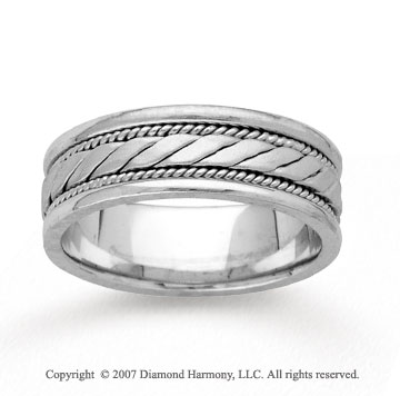 14k White Gold Rope Style Hand Carved Wedding Band