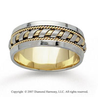 14k Two Tone Gold Great Elegance Hand Carved Wedding Band