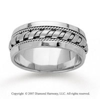 14k White Gold Great Elegance Hand Carved Wedding Band