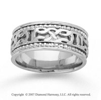 14k White Gold Milgrain Classic Hand Carved Wedding Band