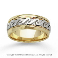14k Two Tone Gold Greek Style Hand Carved Wedding Band