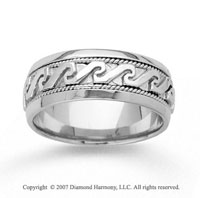 14k White Gold Greek Style Hand Carved Wedding Band