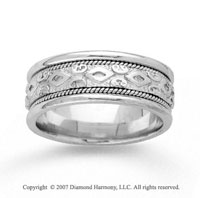 14k White Gold Modern Style Hand Carved Wedding Band