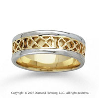 14k Two Tone Gold Modern Elegance Hand Carved Wedding Band