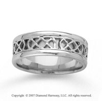 14k White Gold Modern Elegance Hand Carved Wedding Band