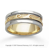 14k Two Tone Gold Wave Braided Hand Carved Wedding Band