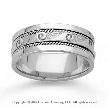 14k White Gold Wave Braided Hand Carved Wedding Band