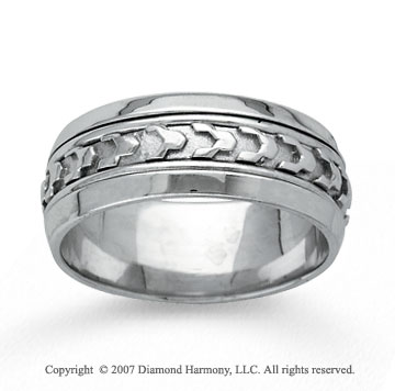 14k White Gold Ultra Stylish Hand Carved Wedding Band