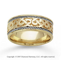 14k Two Tone Gold Grand Classic Hand Carved Wedding Band