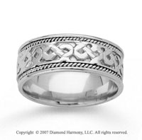 14k White Gold Grand Classic Hand Carved Wedding Band