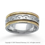 14k Two Tone Gold Classy Pattern Hand Carved Wedding Band