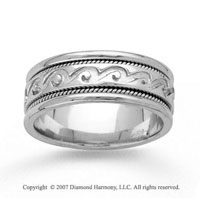 14k White Gold Classy Pattern Hand Carved Wedding Band