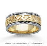 14k Two Tone Gold Classical Style Hand Carved Wedding Band