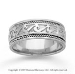 14k White Gold Classical Style Hand Carved Wedding Band
