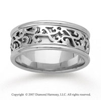 14k White Gold Modern Fashion Hand Carved Wedding Band