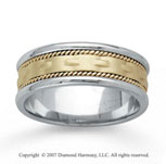 14k Two Tone Gold Modern Braided Hand Carved Wedding Band