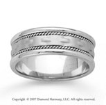 14k White Gold Modern Braided Hand Carved Wedding Band