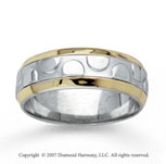 14k Two Tone Gold Charming Hand Carved Wedding Band