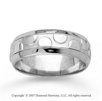 14k White Gold Charm Fashion Hand Carved Wedding Band