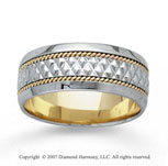 14k Two Tone Gold Great Classic Hand Carved Wedding Band