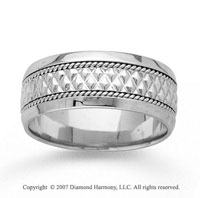 14k White Gold Great Classic Hand Carved Wedding Band