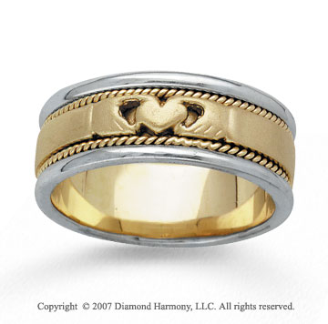 14k Two Tone Gold Heart Rope Hand Carved Wedding Band